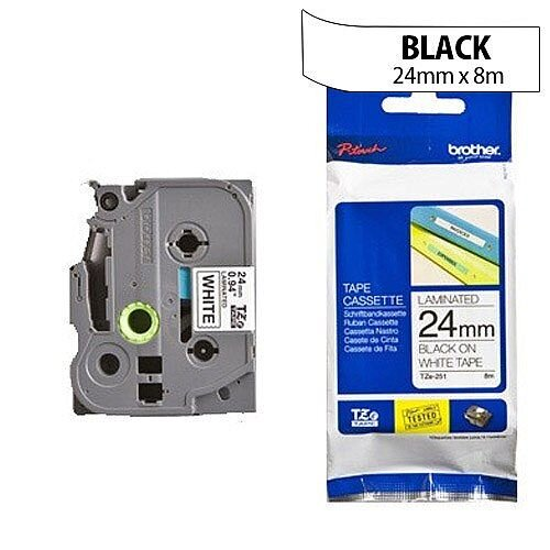 Brother TZ251 P-touch TZ Tape 24mm x 8m Black on White