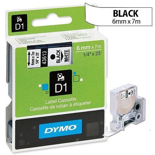 Dymo D1 Tape 43613 6mm x 7m Black on White S0720780