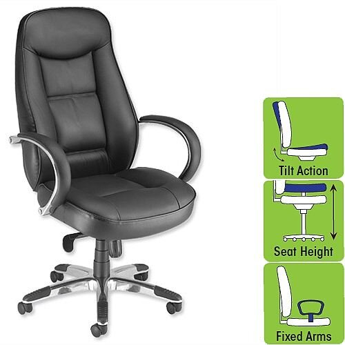 Languedoc Leather Executive Office Chair Black Adroit