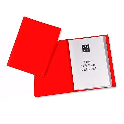 Red Pocket Display Book A4 Lightweight 20 Pockets 5 Star