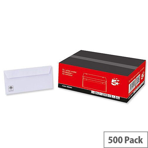 5 Star Envelopes DL White Wallet Peel and Seal Pack 500