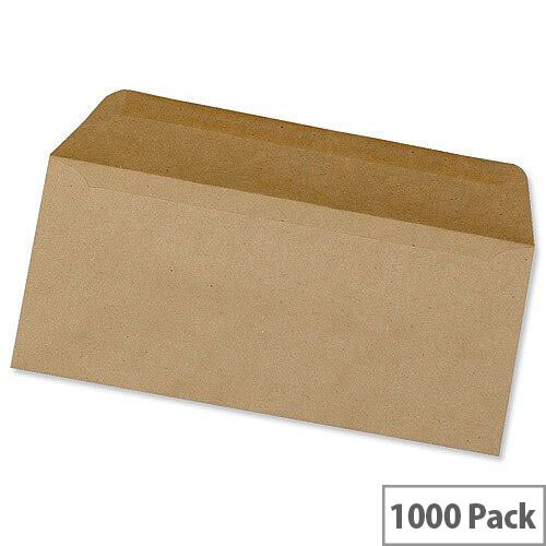 5 Star Office Envelopes Lightweight Wallet Gummed Manilla 70gsm DL Pack of 1000