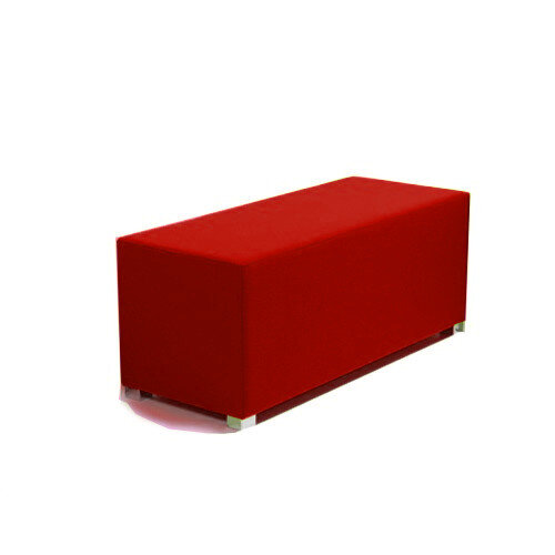 Link Bench Stool Red - Fully Upholstered in Durable Fabric, Part of LINK Modular Soft Seating Range