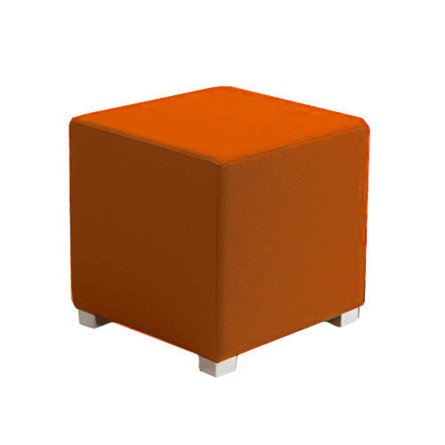 Link Cube Stool Orange - Fully Upholstered in Durable Fabric, Part of LINK Modular Soft Seating Range