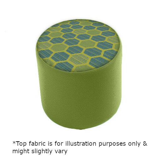 Link Radius Circular Stool Green - Fully Upholstered in Durable 2 Tone Fabric, Part of LINK Modular Soft Seating Range