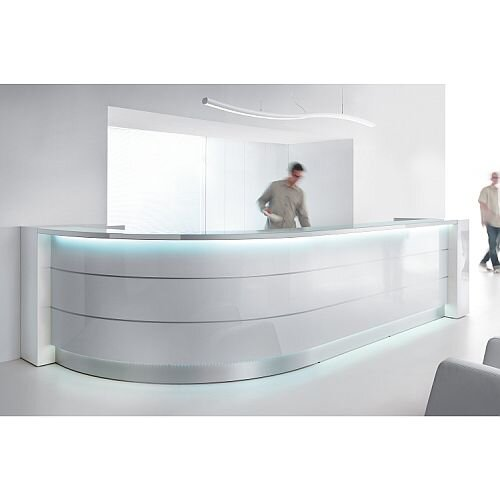 Valde High Gloss Illuminated Reception Unit - Curved Formation RD75