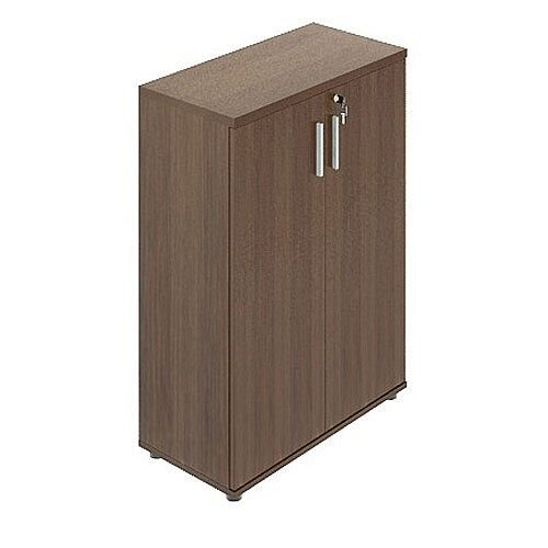 Quando Bookcase with Wood Doors 1129H x 432D x 801W 3 Levels - Chestnut