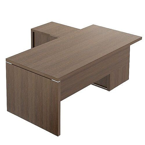 Quando Executive Desk 1900 x 900mm + Universal Credenza Return Unit – Chestnut, Levelling Adjustment, Aluminium, 38mm Thick MFC &10 Year Guarantee