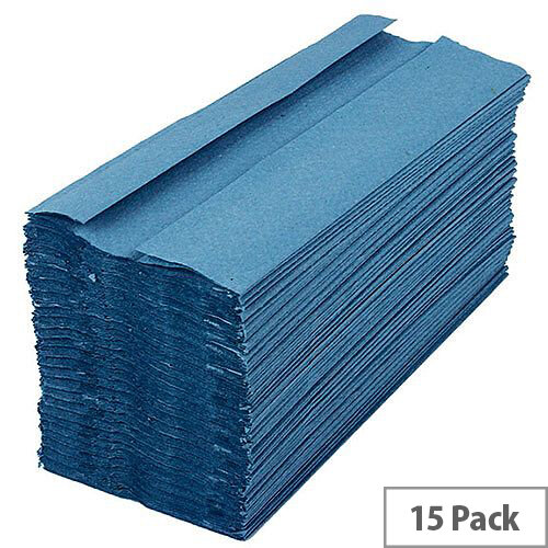2Work Blue 1-Ply C-Fold Paper Hand Towels 192 Towels Per Sleeve 15 Sleeves (2880 Sheets) HT2305
