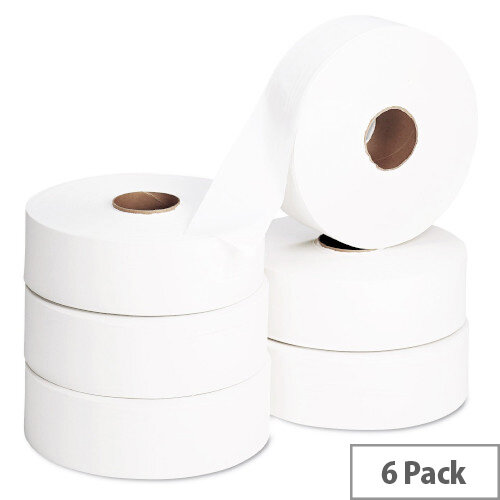 2Work Jumbo 60mm Core Dispenser Dispenser Toilet Paper Rolls Refills 2-Ply 410m White Pack of 6 J26410