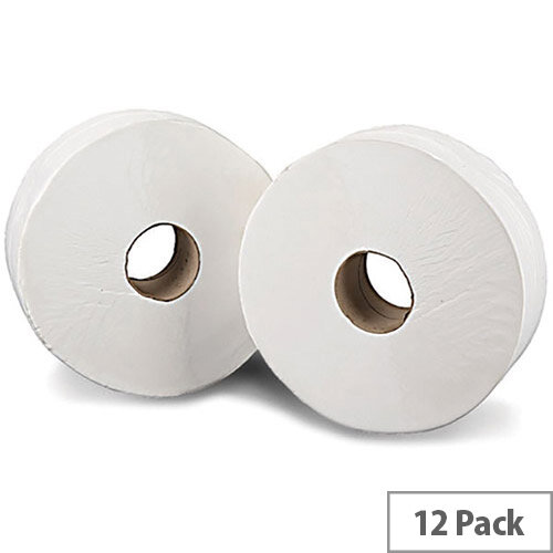 2Work Mini Jumbo 60mm Core Dispenser Dispenser Toilet Paper Rolls Refills Roll 2-Ply 200m White Pack of 12 J26200