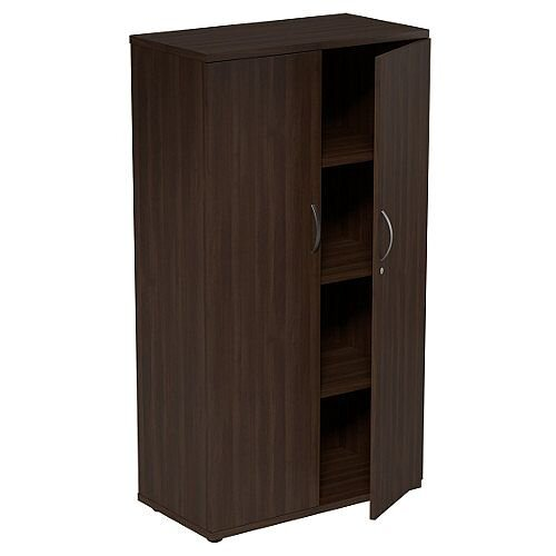 Medium Tall Cupboard with Adjustable Shelves and Floor-leveller Feet W800xD420xH1490mm Dark Walnut Kito