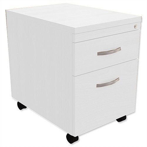 Mobile Filing Pedestal 2-Drawer White Kito