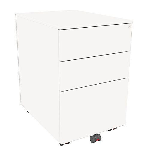 Mobile Steel Pedestal With 2 Stationery &1 Filing Drawer 395mm Wide White Kito X-Series