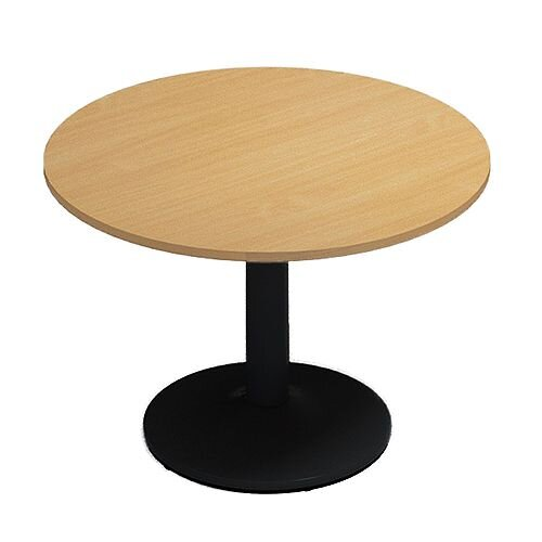 Kito Beech Meeting Room Round Table Black Trumpet Base Dia1000xH725mm