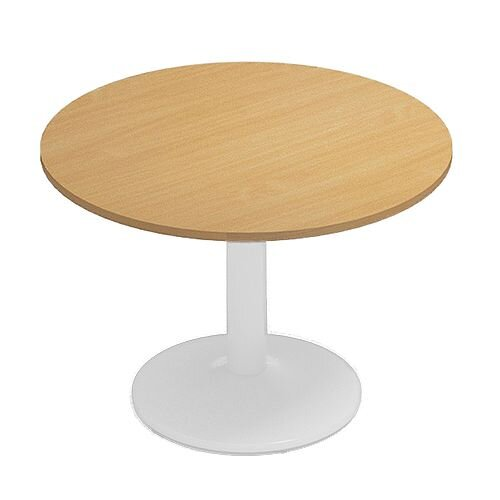 Kito Beech Meeting Room Round Table White Trumpet Base Dia1000xH725mm