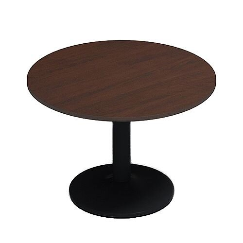 Kito Walnut Meeting Room Round Table Black Trumpet Base Dia1000xH725mm