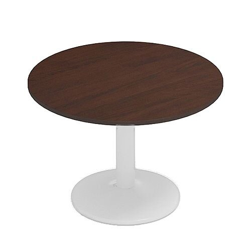 Kito Walnut Meeting Room Round Table White Trumpet Base Dia1000xH725mm