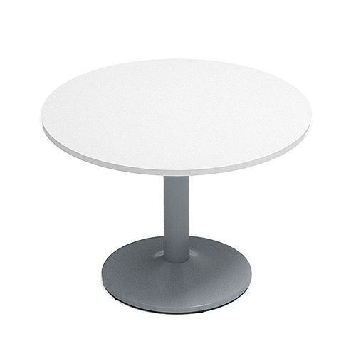Kito White Meeting Room Round Table Silver Trumpet Base Dia1000xH725mm