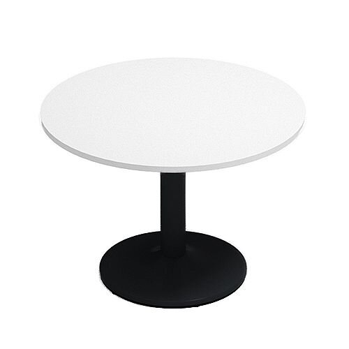 Kito White Meeting Room Round Table Black Trumpet Base Dia1000xH725mm