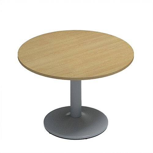 Kito Oak Meeting Room Round Table Silver Trumpet Base Dia1000xH725mm