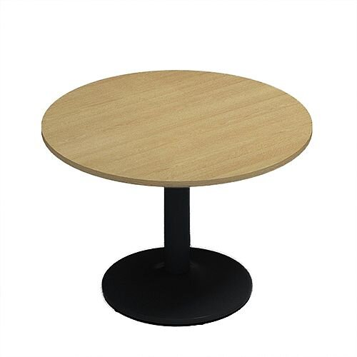 Kito Oak Meeting Room Round Table Black Trumpet Base Dia1000xH725mm