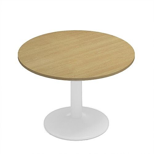 Kito Oak Meeting Room Round Table White Trumpet Base Dia1000xH725mm