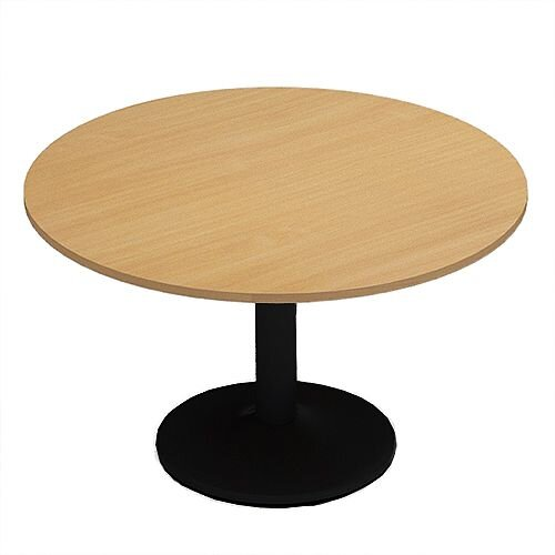 Kito Beech Meeting Room Round Table Black Trumpet Base Dia1200xH725mm