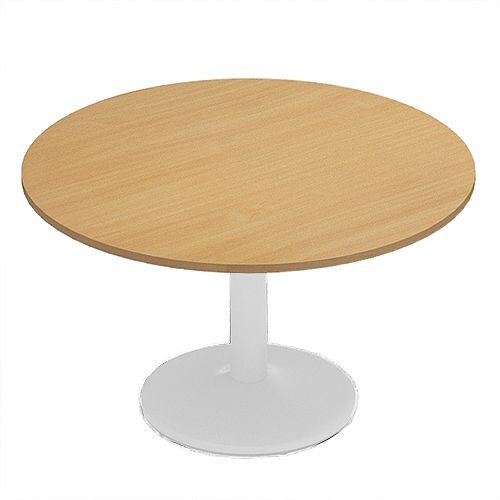 Kito Beech Meeting Room Round Table White Trumpet Base Dia1200xH725mm