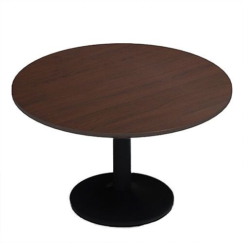 Kito Walnut Meeting Room Round Table Black Trumpet Base Dia1200xH725mm