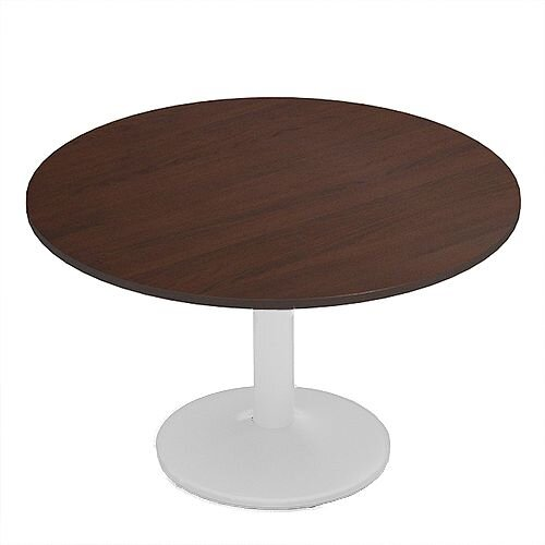 Kito Walnut Meeting Room Round Table White Trumpet Base Dia1200xH725mm