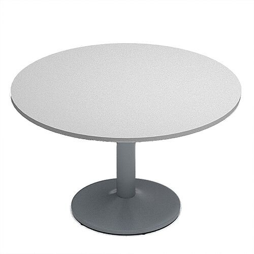 Kito Grey Meeting Room Round Table Silver Trumpet Base Dia1200xH725mm