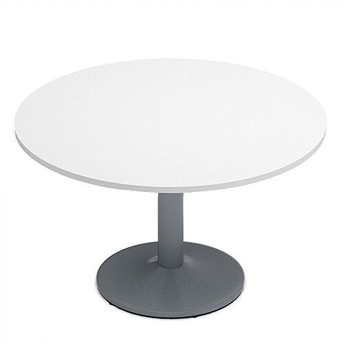 Kito White Meeting Room Round Table Silver Trumpet Base Dia1200xH725mm