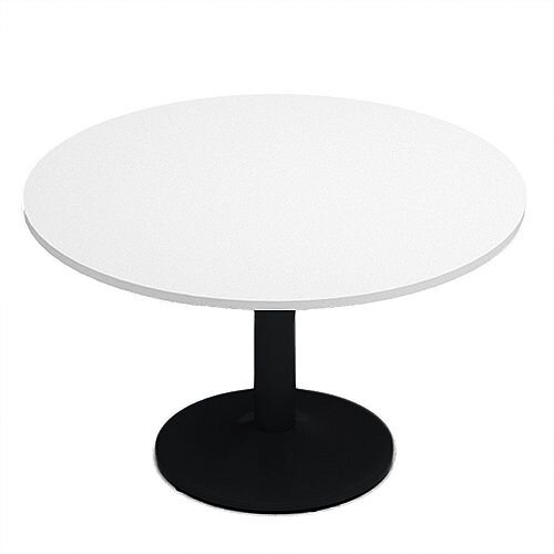 Kito White Meeting Room Round Table Black Trumpet Base Dia1200xH725mm