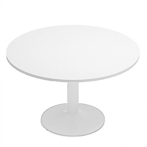 Kito White Meeting Room Round Table White Trumpet Base Dia1200xH725mm