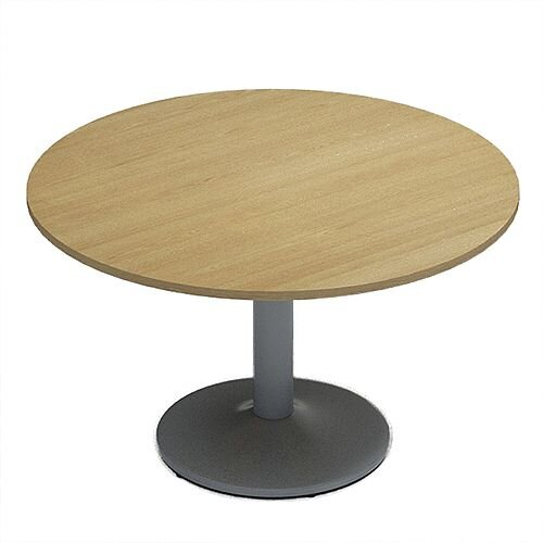 Kito Oak Meeting Room Round Table Silver Trumpet Base Dia1200xH725mm