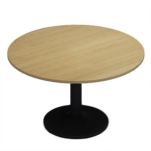 Kito Oak Meeting Room Round Table Black Trumpet Base Dia1200xH725mm