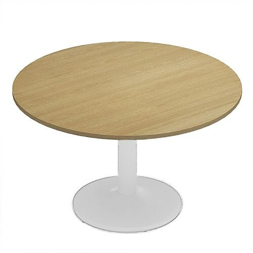 Kito Oak Meeting Room Round Table White Trumpet Base Dia1200xH725mm