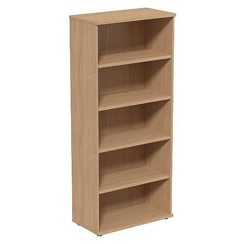 Tall Bookcase with Adjustable Shelves and Floor-leveller Feet W800xD420xH1850mm Beech Kito