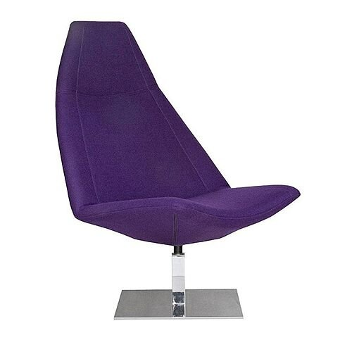 THUNDER Deluxe Designer Lounge Chair Purple 100% Wool Fabric Upholstered