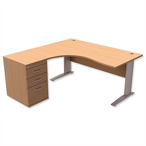 Radial Office Desk Left Hand with 600mm Desk-High Pedestal W1600xD1600xH725mm Beech Komo