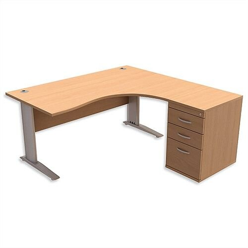 Radial Office Desk Right Hand with 600mm Desk-High Pedestal W1600xD1600xH725mm Beech Komo