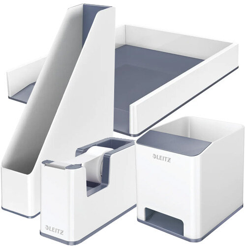 Leitz WOW Desk Tidy White &Grey Bundle - Sound Booster Pen Holder &Letter Tray &Magazine File &Tape Dispenser