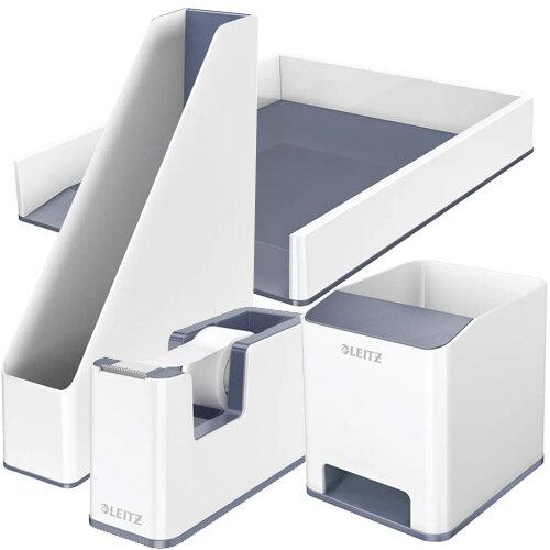 Leitz WOW Desk Tidy White &Grey Bundle - Sound Booster Pen Holder &Letter Tray &Magazine File &Tape Dispenser