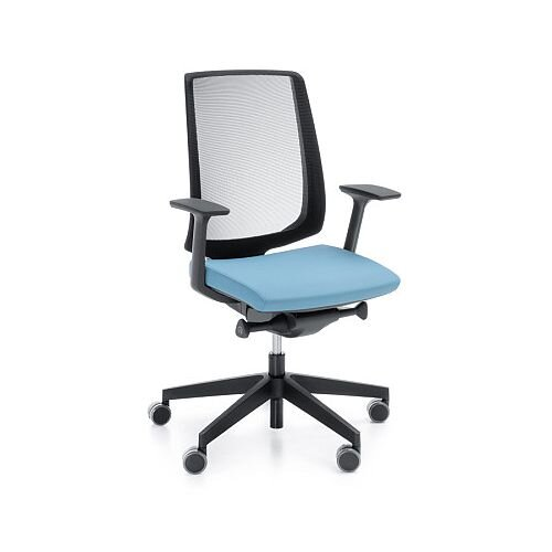 LightUp Modern Design Ergonomic Mesh Office Chair Sky Blue Fabric Seat
