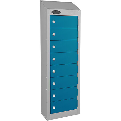 Probe 8-Door Wallet Locker Silver Body &Blue Doors By Lion Steel 100101180/8
