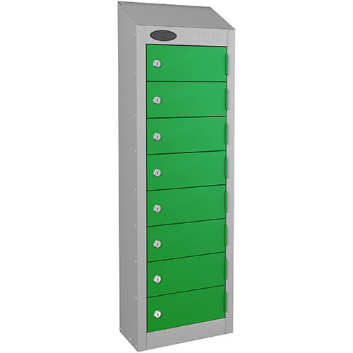 Probe 8-Door Wallet Locker Silver Body &Green Doors By Lion Steel 100101180/8