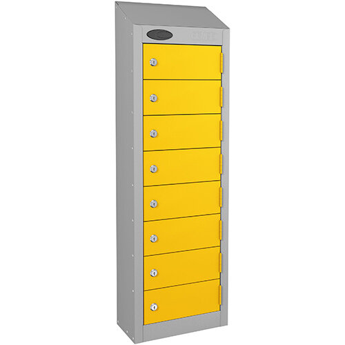 Probe 8-Door Wallet Locker Silver Body &Yellow Doors By Lion Steel 100101180/8