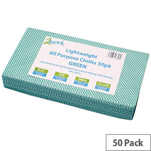 2Work All Purpose Cleaning Cloths Green Pack of 50 KECORYG