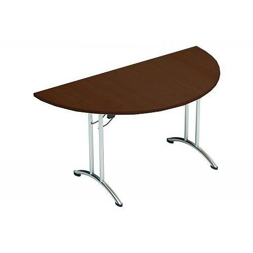 Folding Table Semi Circular Chrome Legs 25mm Top W1500xD750xH725mm Dark Walnut Morph Fold
